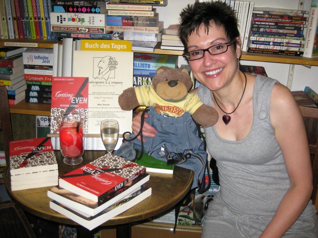 Author reading and book signing with Mitzi Szereto (and Teddy Tedaloo) at Shakespeare and Company Booksellers, Vienna, Austria