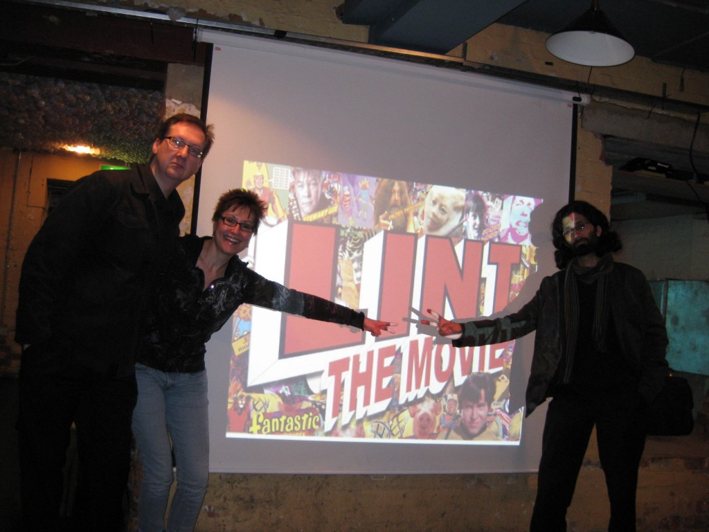 "Mitzi Szereto with fellow ""actors"" Steve Aylett and Mo Ali at ""Lint: The Movie"" premiere in London"
