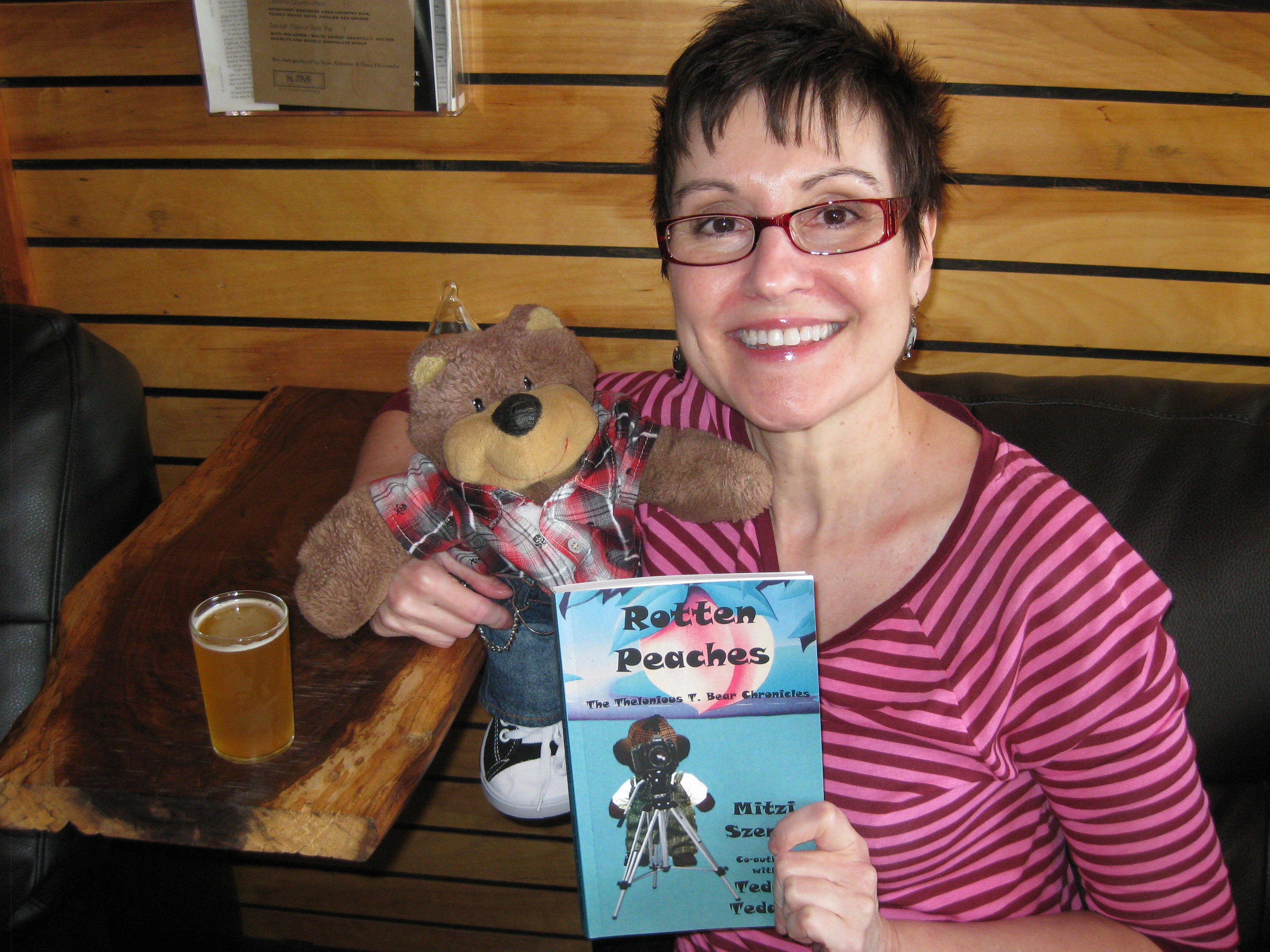 Mitzi Szereto and Teddy Tedaloo celebrate the release of Rotten Peaches (The Thelonious T. Bear Chronicles)