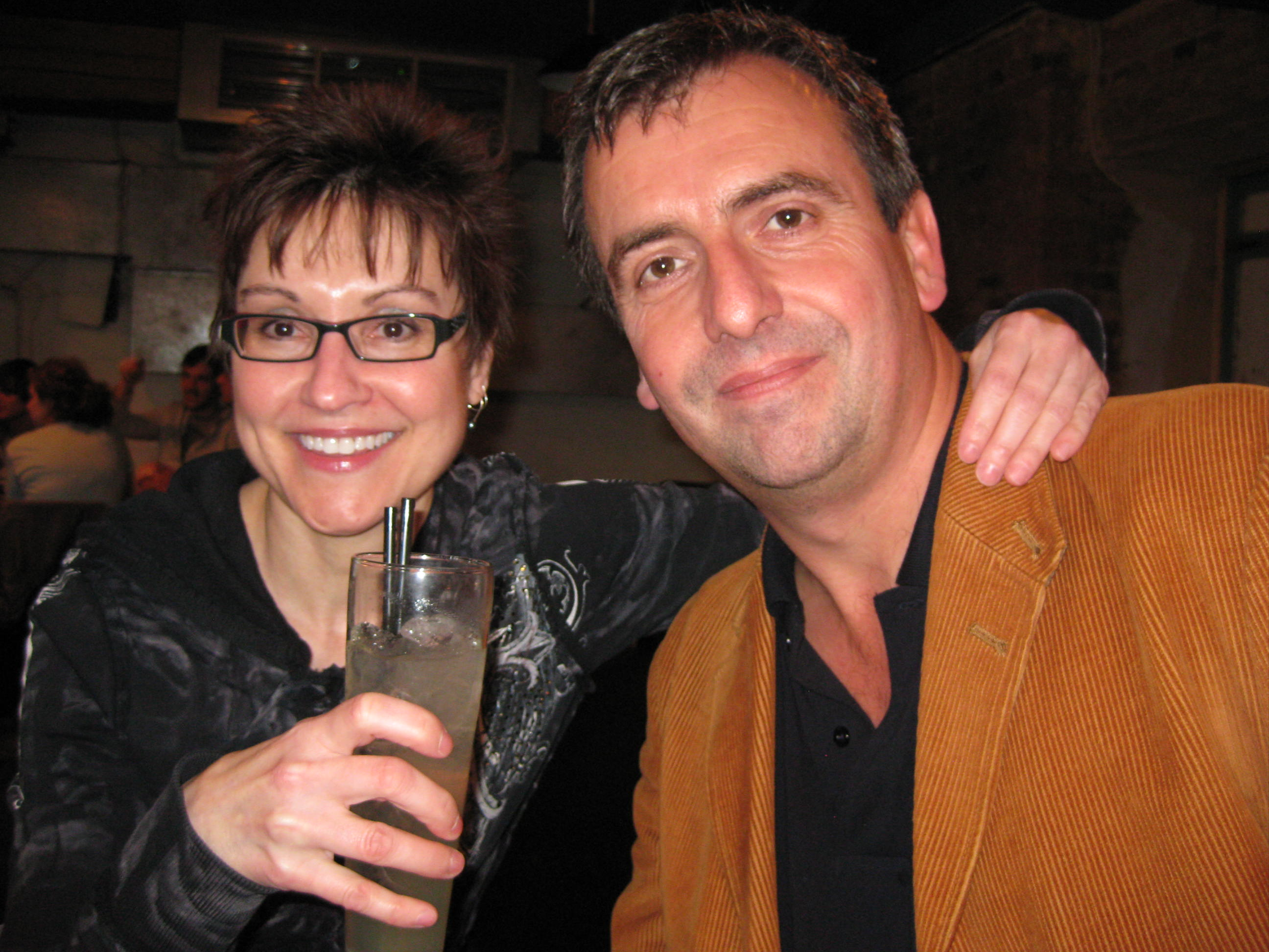 Mitzi Szereto with author Tony White in London