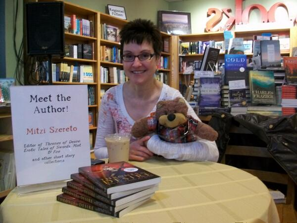 Mitzi Szereto (with Teddy Tedaloo) signing books at Malaprop's, Asheville, NC